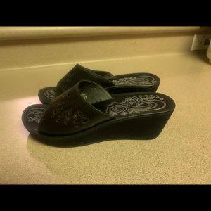 Olukai Noho Lio Sandals Heel Black Leather Women 8